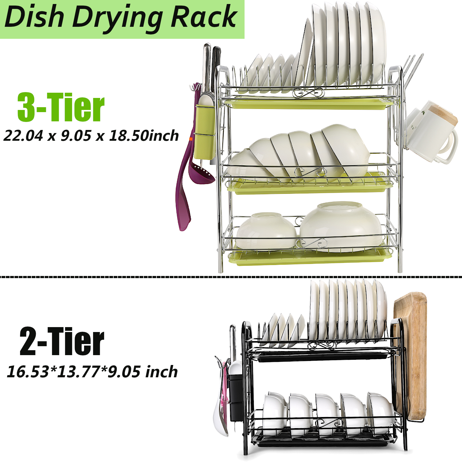 2 3 Tier Dish Plate Cup Drying Rack Organizer Drainer Storage Holder For Kitchen Ebay