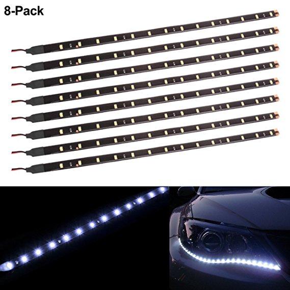 6Pcs White 1Ft//15 LED Car Motors Truck Bike Flexible Strip Light Waterproof 12V