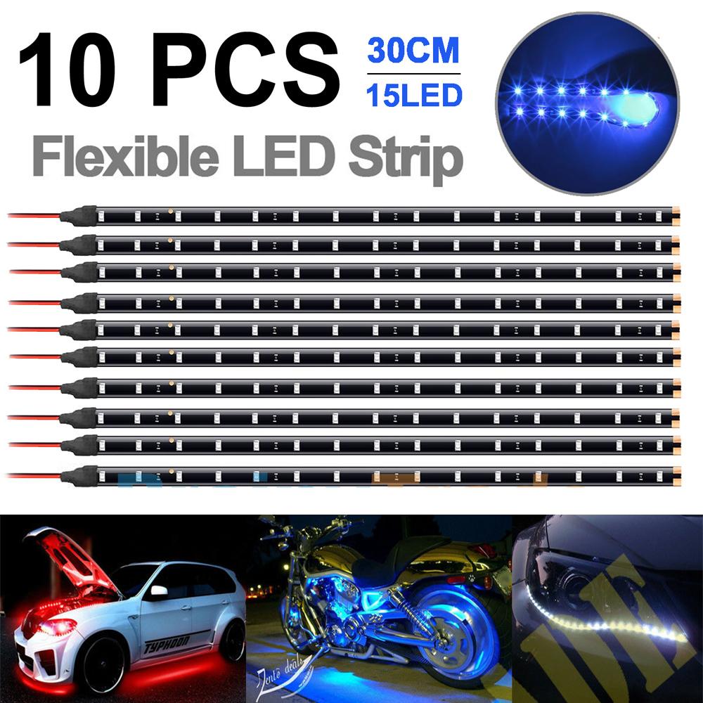 12V Flexible LED Strip Light Waterproof For Car Boat Motor 30cm 1FT 15SMD