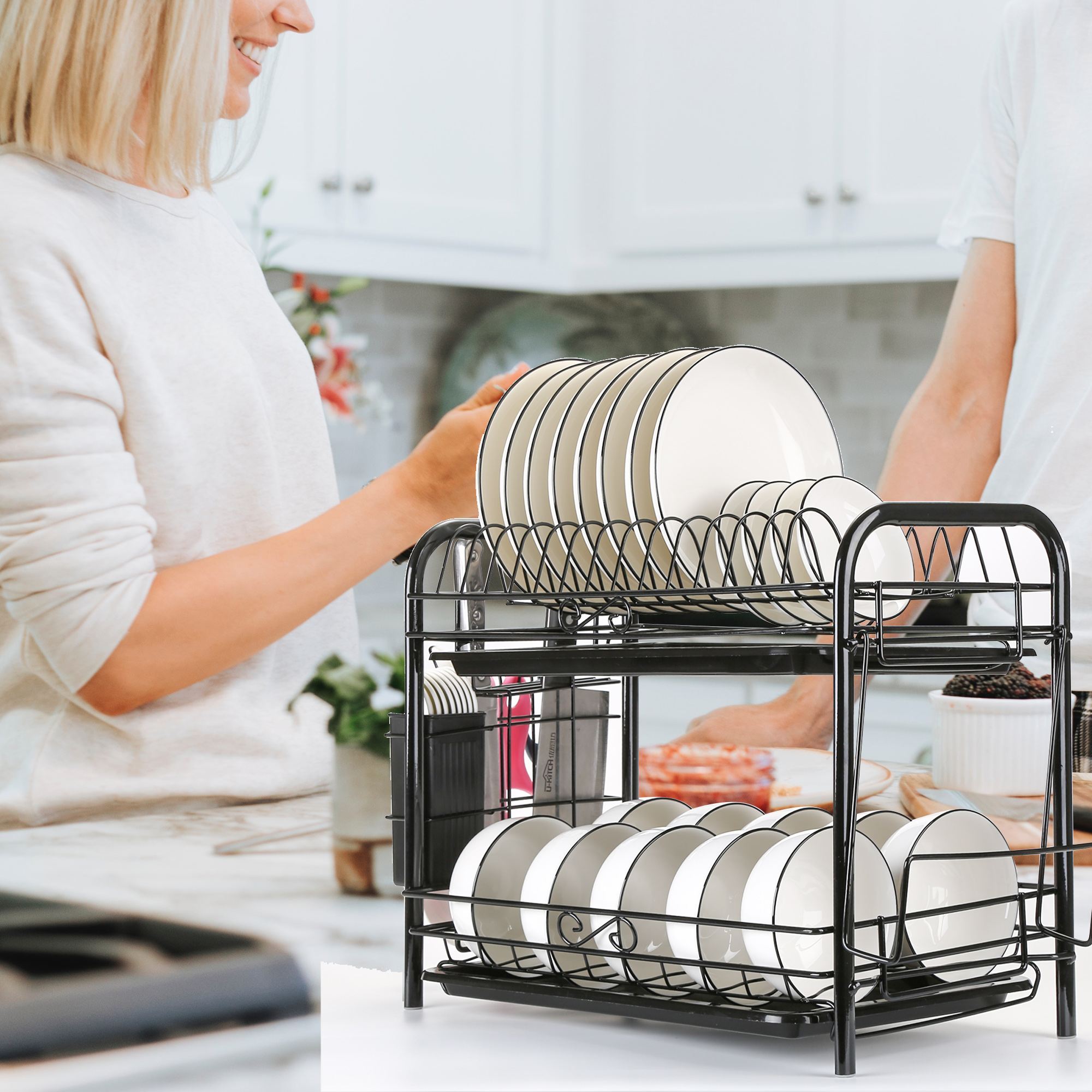2//3 Tier Dish Plate Cup Drying Rack Organizer Drainer Storage Holder For Kitchen