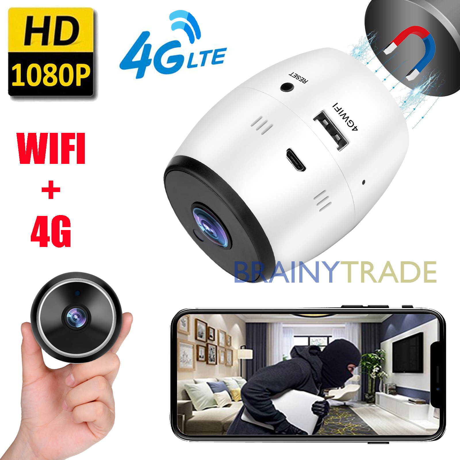 Details about Wireless 4G network Card Mobile Wifi IP Camera 1080P  Real-time monitoring WebCam
