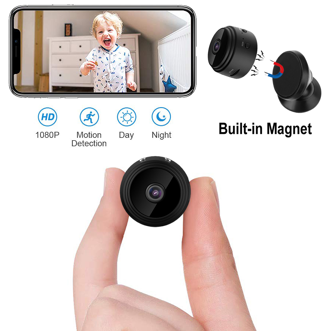 Mini Spy Camera Hd 1080p Wifi Hidden Security Cam With Magnetic Rotation Mount Ebay